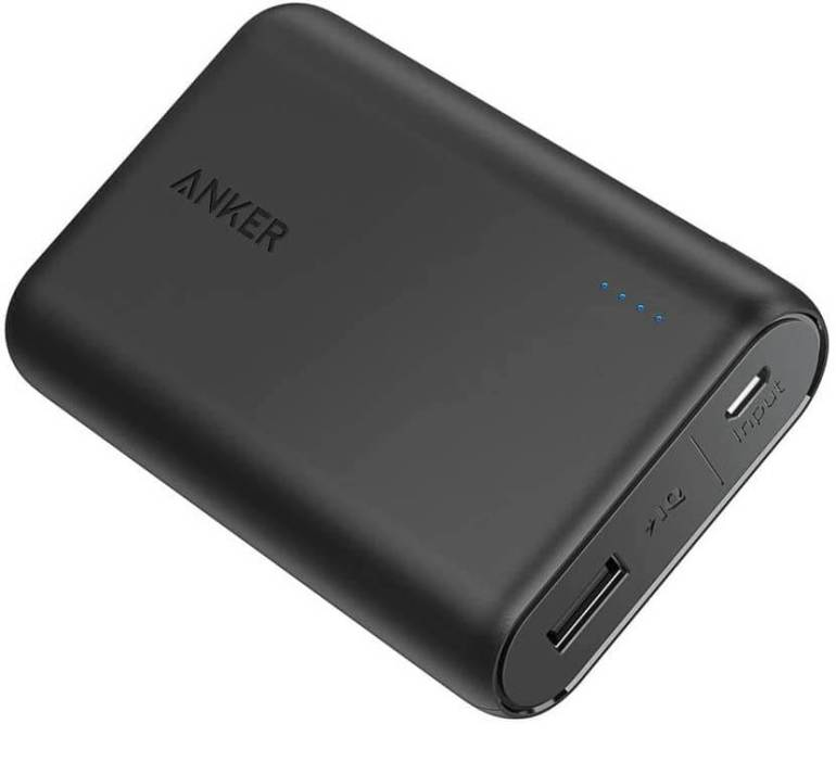 Don't forget portable battery chargers in your Hawaii carry on bag. Image of a black portable battery pack.