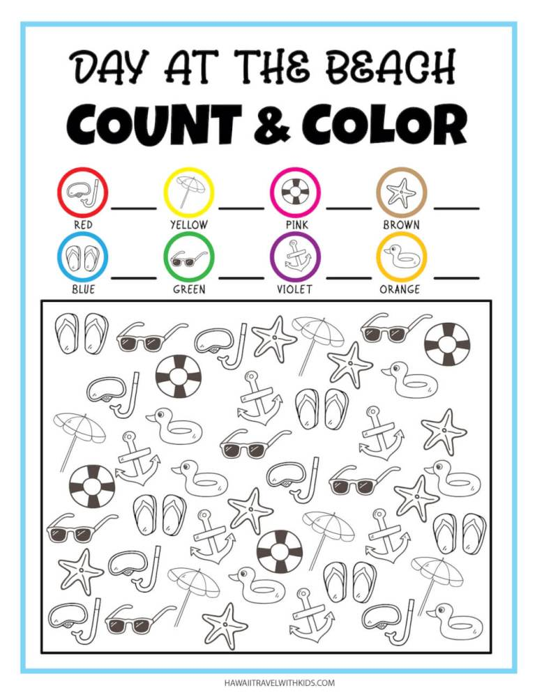 Get this free beach printable by top Hawaii blog Hawaii Travel with Kids. Image of a count and color beach worksheet.