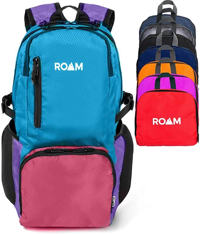 Looking for a backpack for the beach that's waterproof and doesn't take up much space? Image of a multicolor foldable beach backpack.