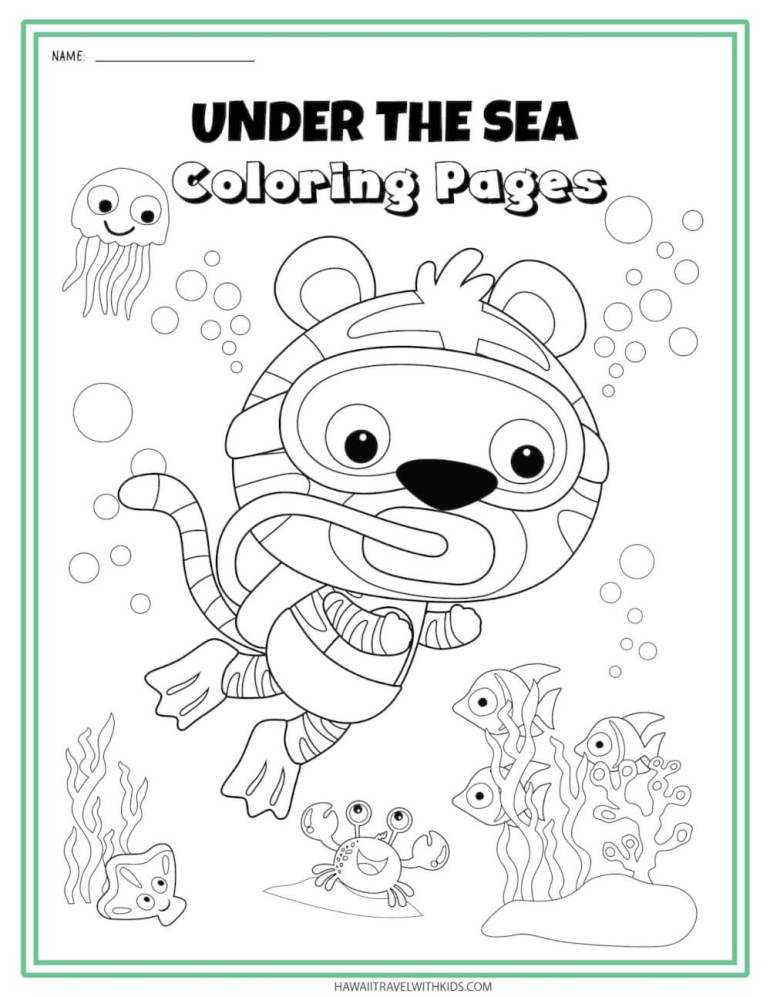 Get these Sea Animal Coloring Pages by top Hawaii blog Hawaii Travel with Kids. Image of a snorkeling koala bear