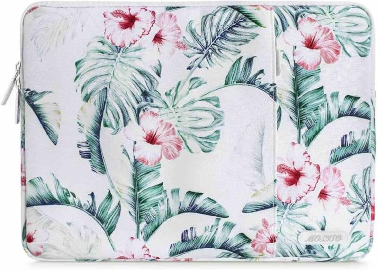 I always put my laptop in a laptop sleeve like this in my Hawaii carry on bag. Perfect addition to a Kauai packing list. Image of a tropical print laptop case.
