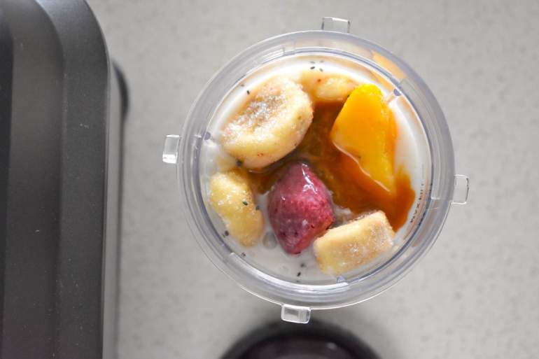 Just put all the mango strawberry banana smoothie ingredients in a blender and mix up to create this tropical smoothie recipe.