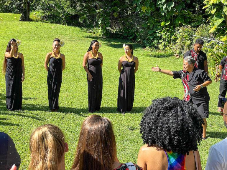 Experience Nutridge Luau is one of the best luaus on Oahu for families. Image of hula dancers at Nutridge Estate.