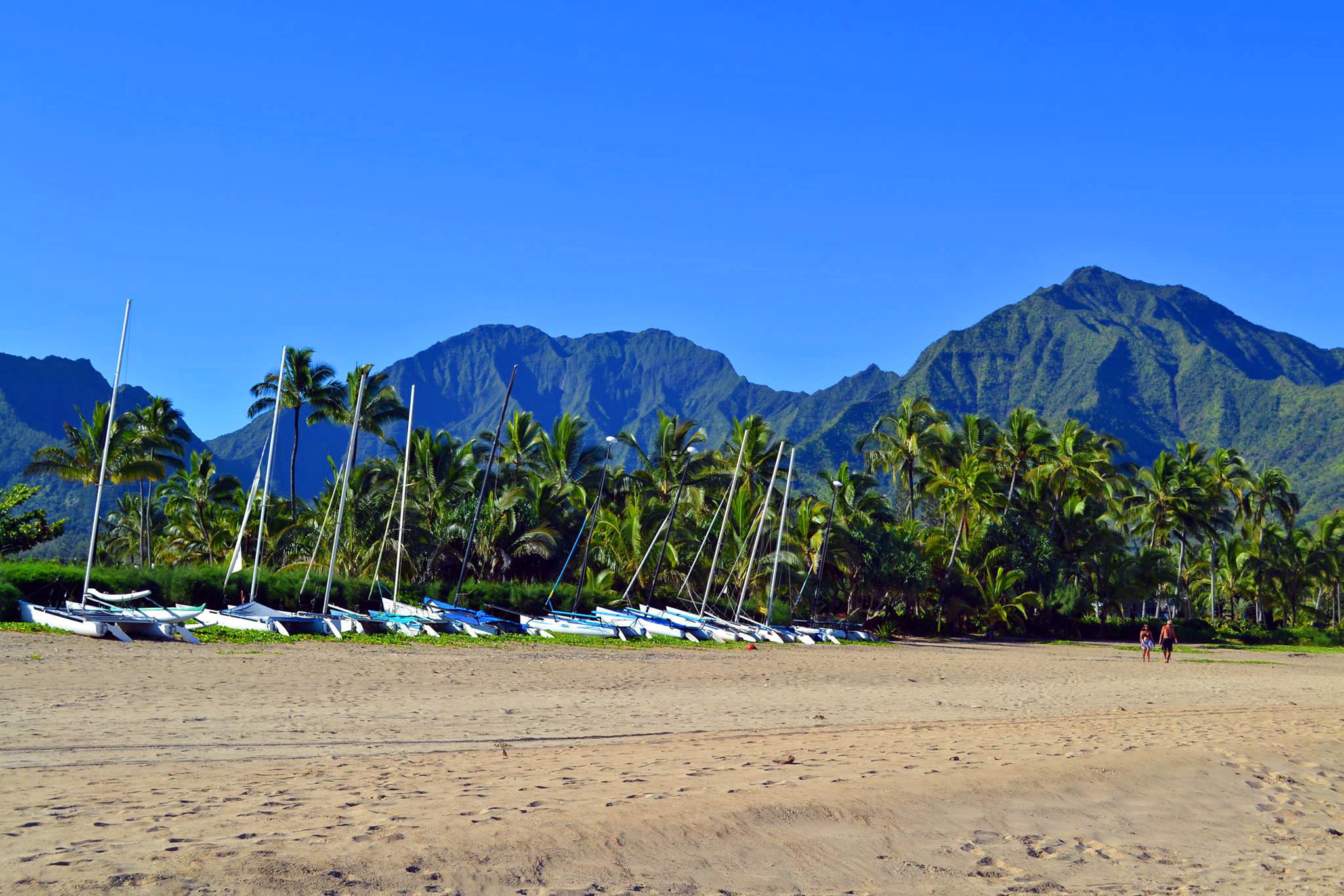 Hanalei Bay Beach mountain views