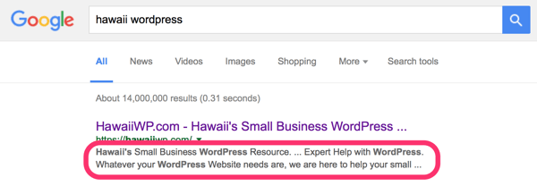 Meta Description- Hawaii's Small business WordPress resouce... Expert Help with WordPress. Whatever your WordPress needs are, we are here to help