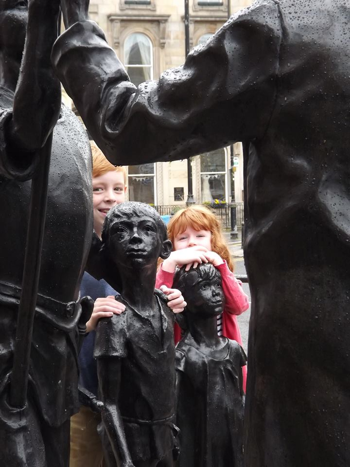 Fionnlach and Rohaise meet their likenesses, but they've grown a lot since they did the modelling 18 months previously!