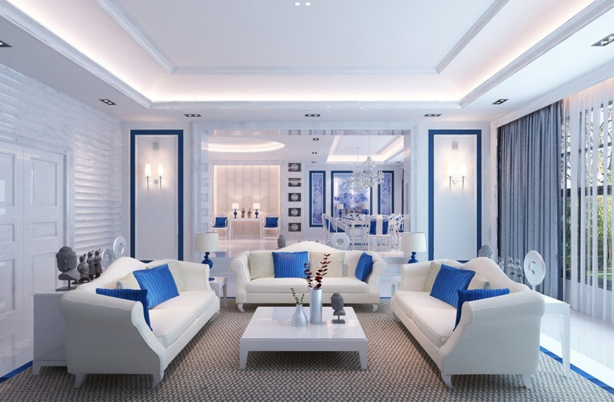 Shades Of Blue Living Room  Zion Star
