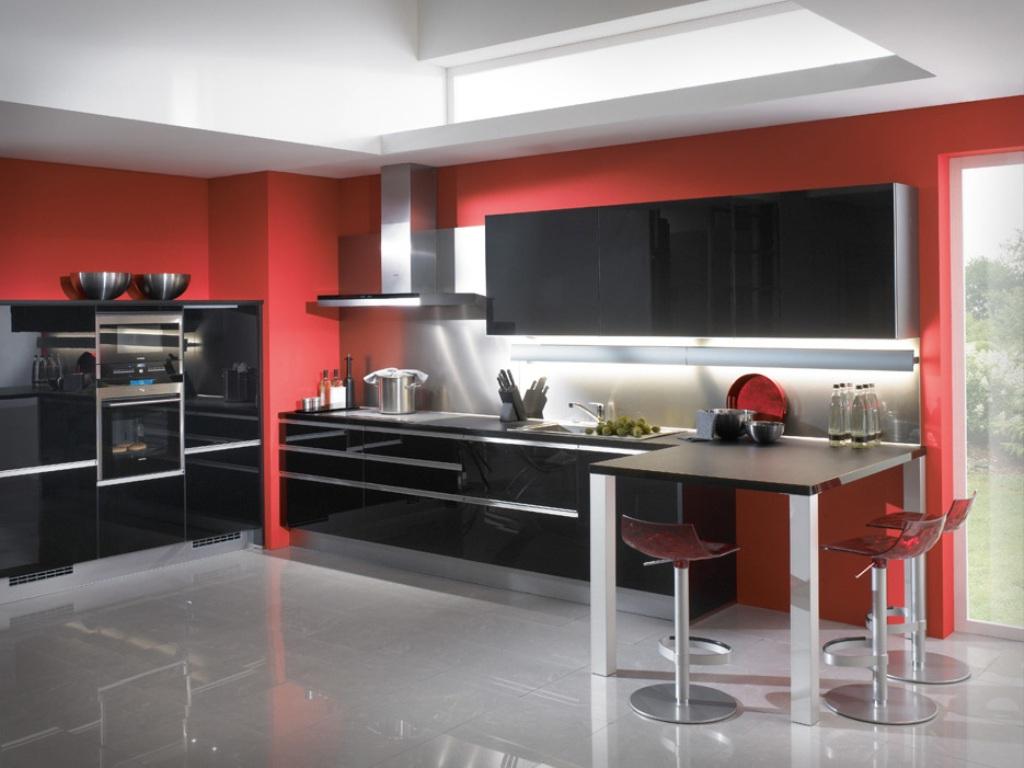 Modern Kitchen Design Red And Black Novocom Top