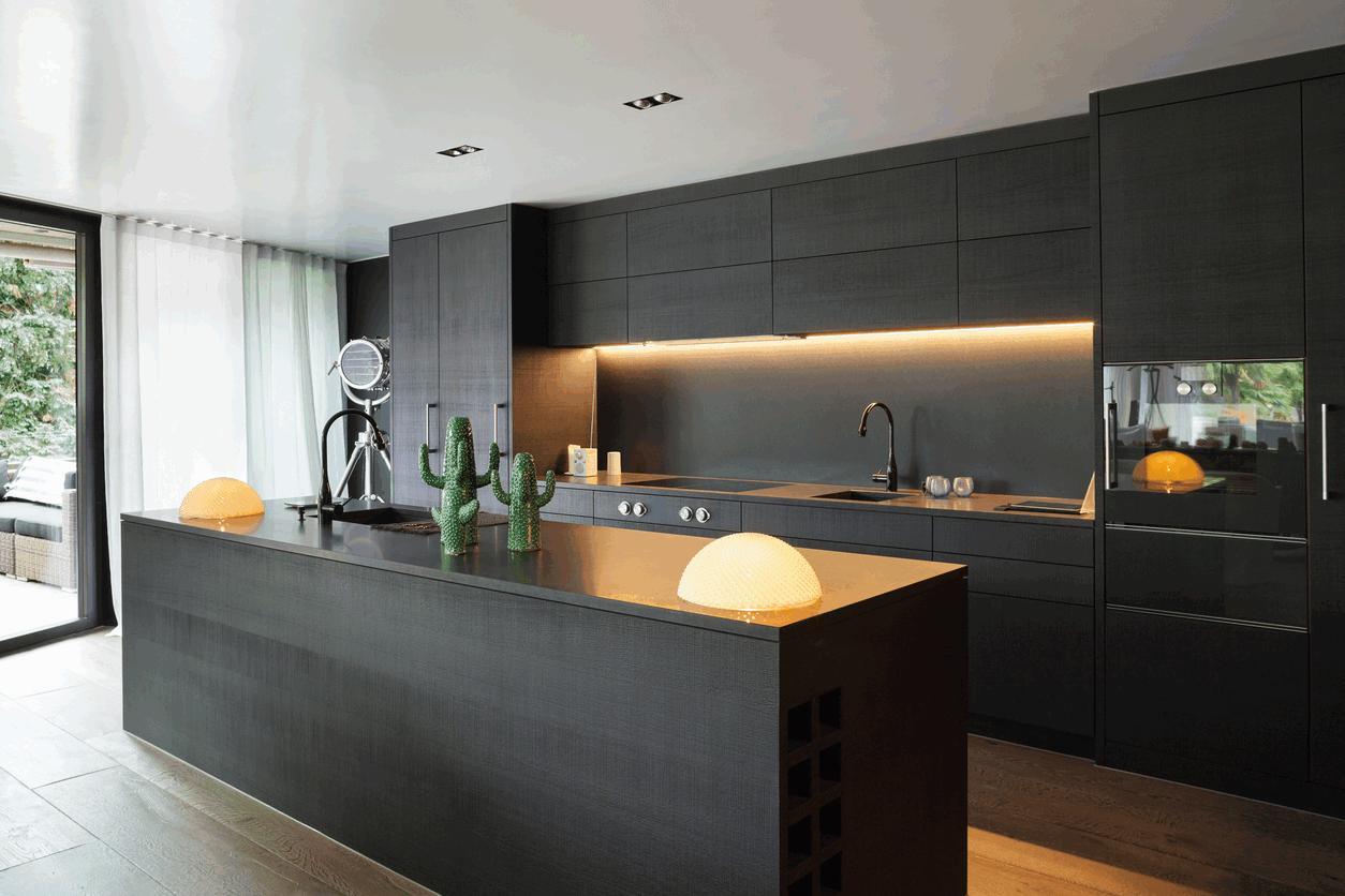 Flat black kitchen cabinets  Hawk Haven