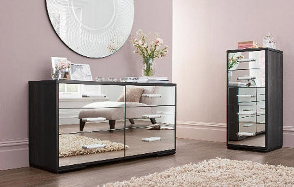 Purple mirrored bedroom furniture  Hawk Haven