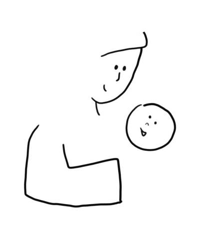 step by step how to draw a mother cradling a baby in her arms