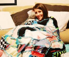 #118 - IMAGE: Make a cozy quilt from old dirty socks. Snuggle up in it alone or with your best friend.