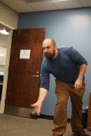 Action shot of Rob bowling.