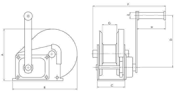 Pfaff HW-C Spur Gear Drive Manual Wire Rope Winch