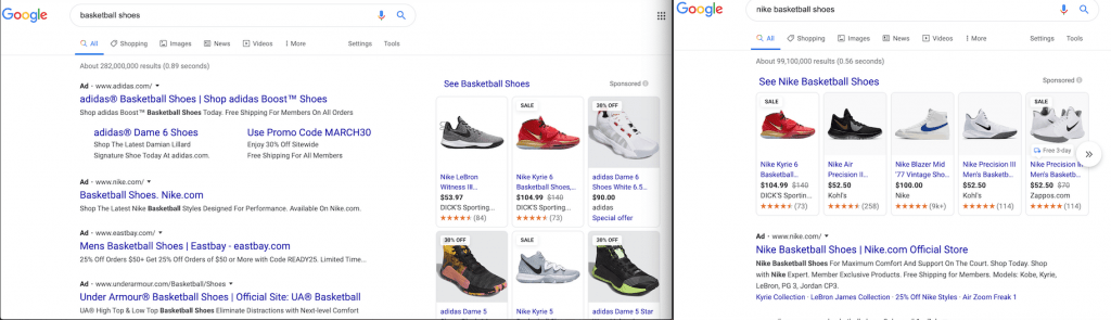 "Google's search engine results page (SERP) for ""basketball shoes"" vs. ""nike basketball shoes."""
