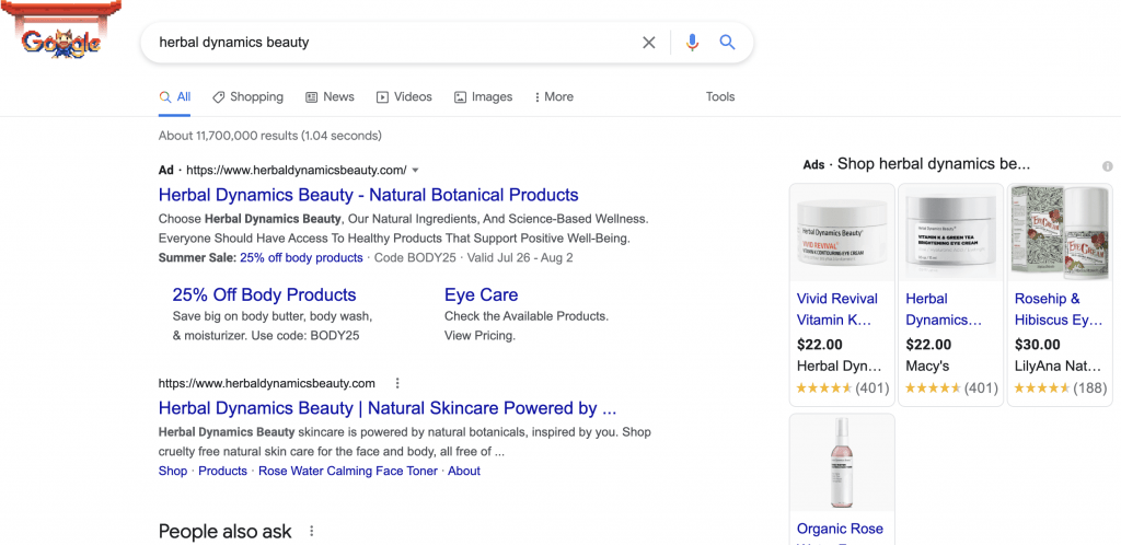 paid search herbal dynamics beauty