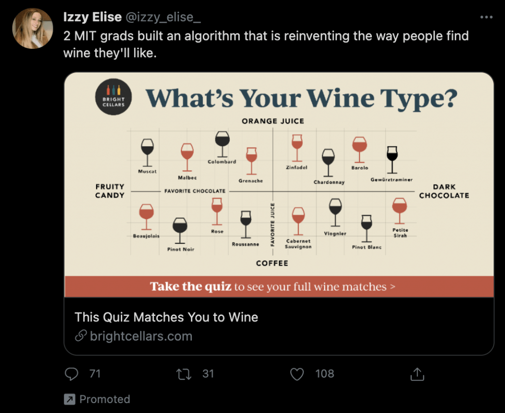 An example of a promoted tweet for monthly wine club Bright Cellars on Twitter.