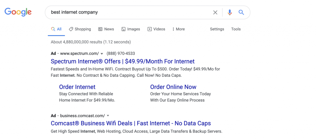 HawkSEM: SERP features - ads