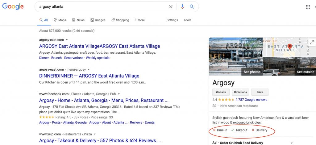 Argosy in Atlanta's Google My Business page