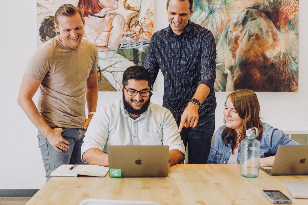 marketing team looking at customer reviews