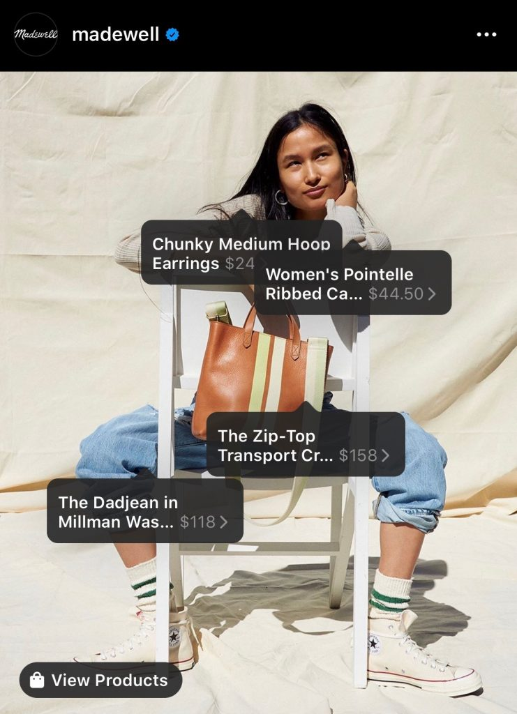 Clothing brand Madewell allows you to shop via their Instagram posts.