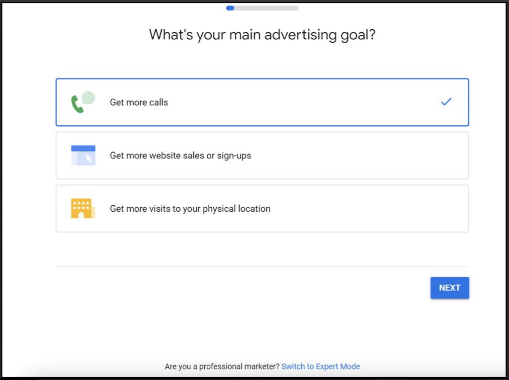 Google Ads advertising goals