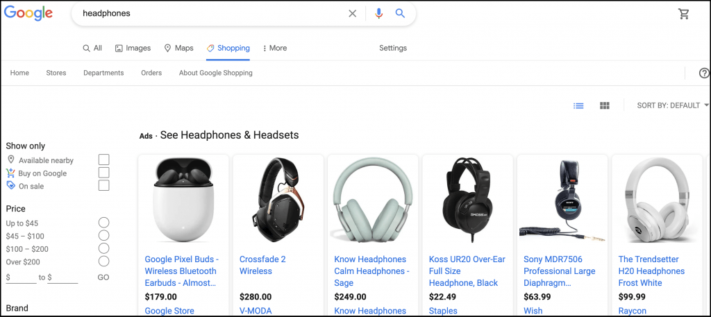 a look at Google Shopping ads for headphones