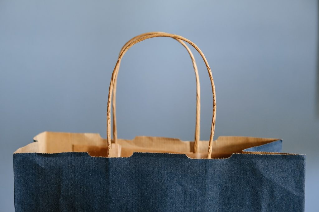 navy paper shopping bag