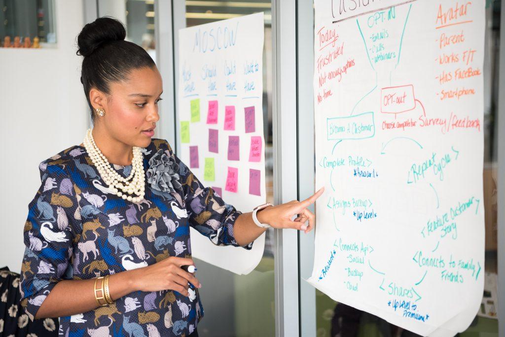 woman brainstorming saas website