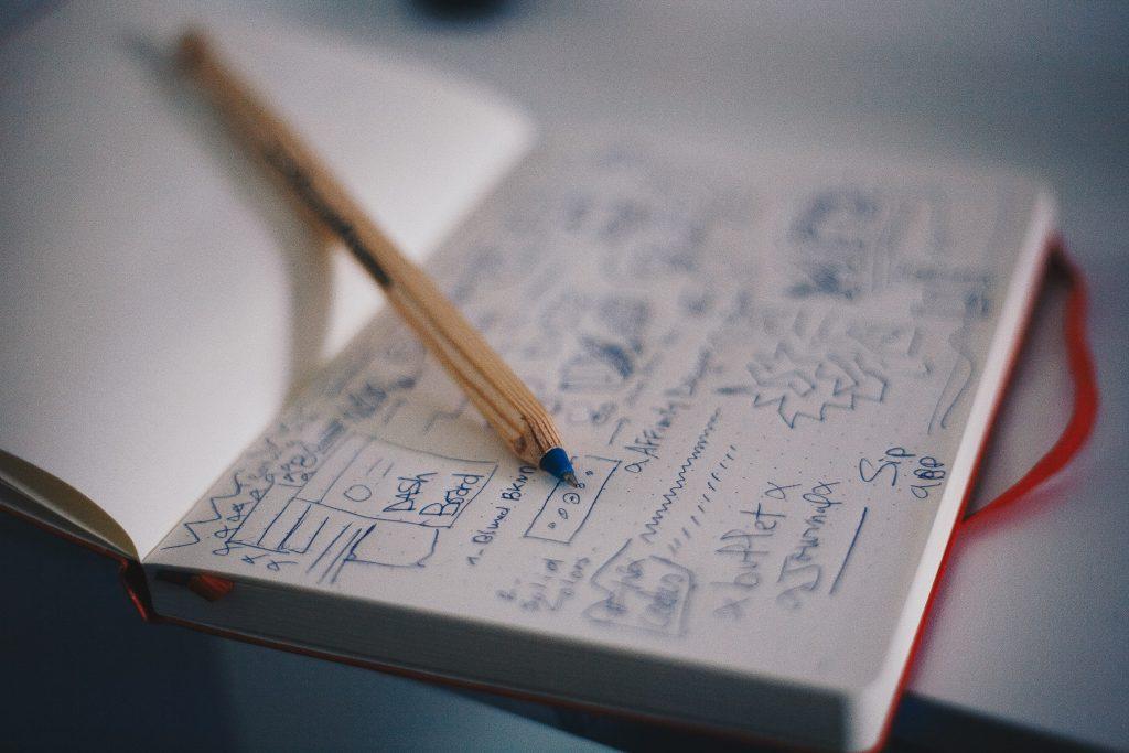 wireframing website redesign in notebook
