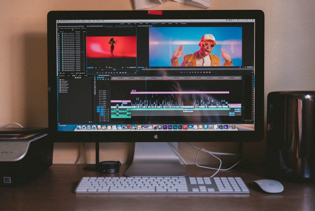 video editing software on desktop computer