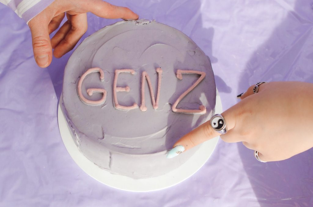 lavender cake with Gen Z on top