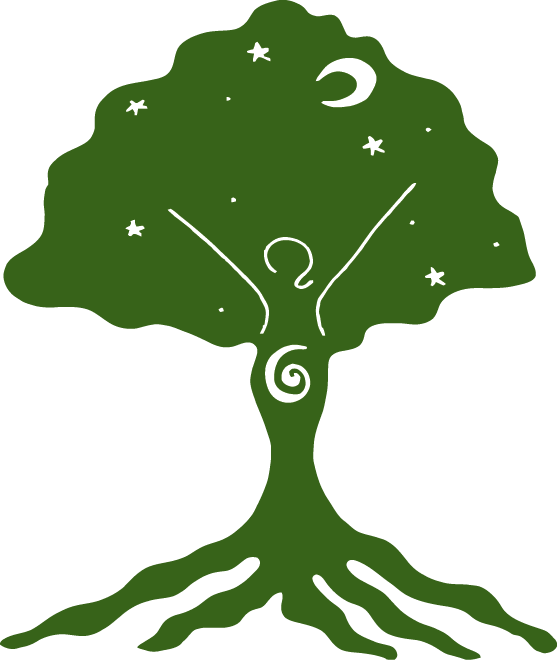 Image of a tree with the figure of a woman or tree goddess as part of the tree
