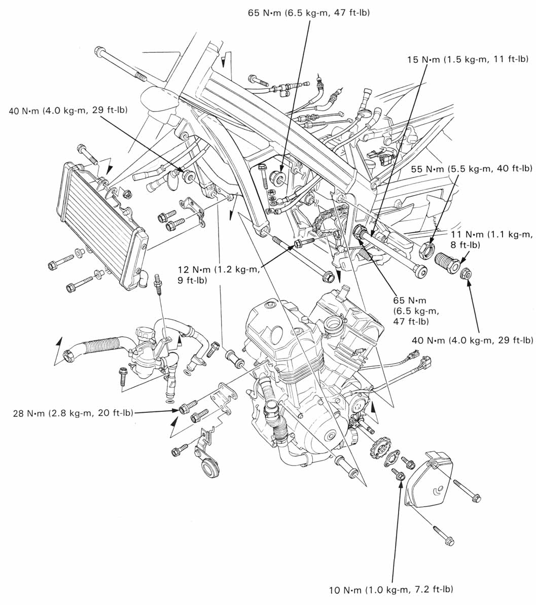 Honda NT650 service manual, section 6, Engine Removal