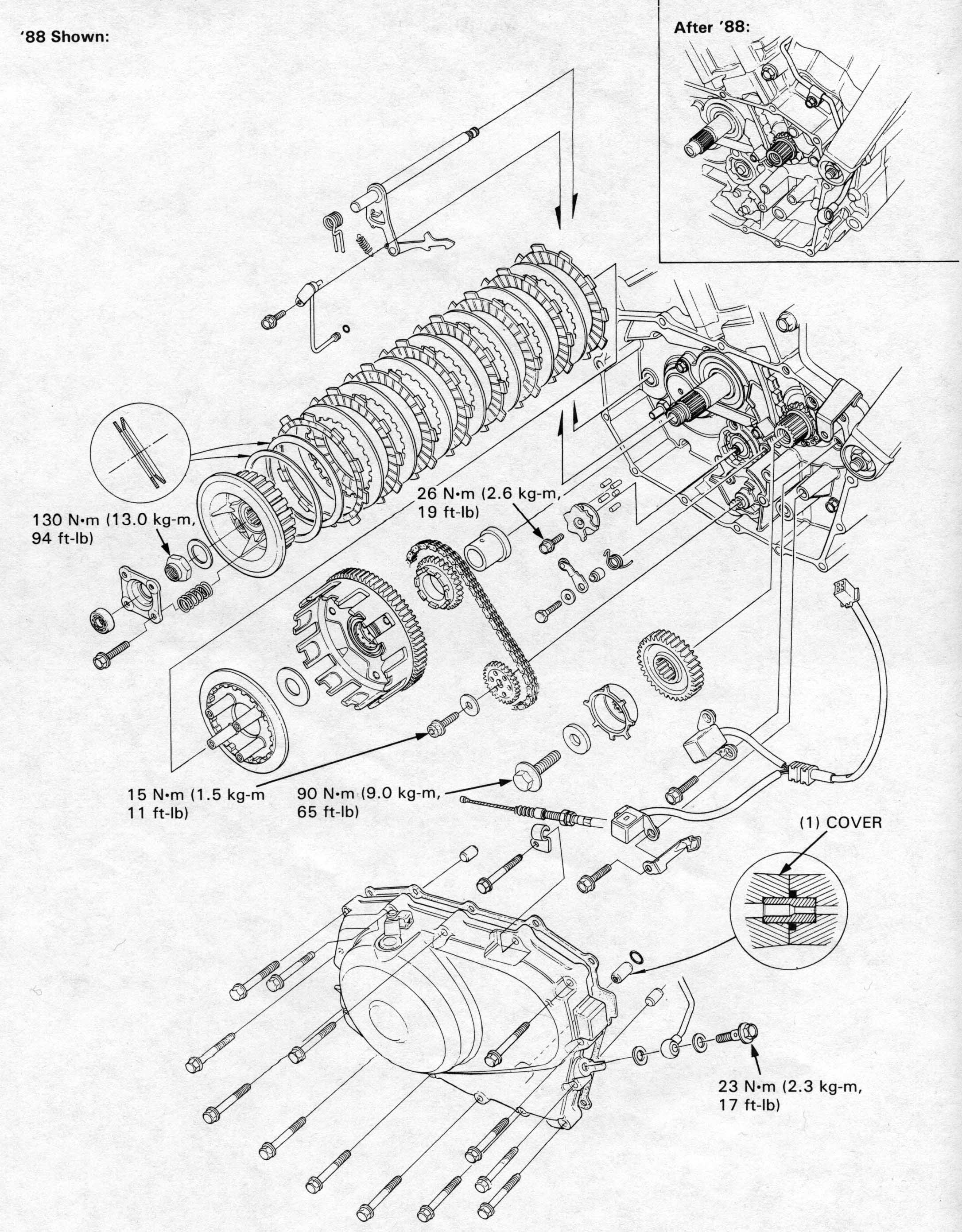 Honda NT650 service manual, section 7, Cluch/Gearshift Linkage