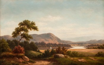 Julia Bacon (1861-1901), Hudson River Valley Vista. Oil on canvas, 14 x 22 inches. Initialed lower right. Collection of Hawthorne Fine Art.