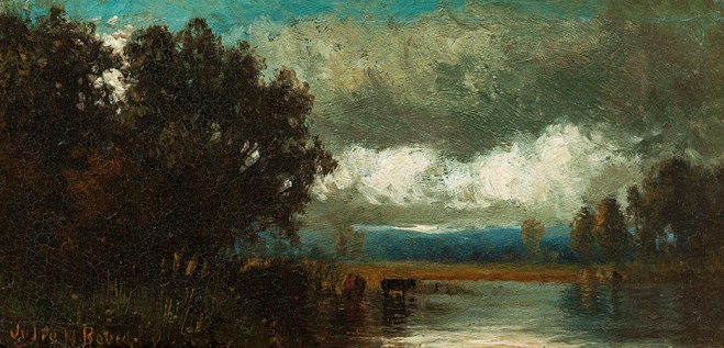 Julie Hart Beers (1835-1913), Landscape with Pond. Oil on panel, 3 ¾ x 7 ¼ inches. Signed lower left. Collection of Hawthorne Fine Art.