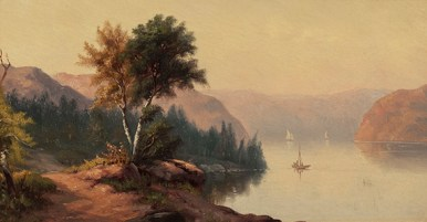 Isabella Bissett (1830-1870), Hudson Valley Landscape, c. 1850's. Oil on canvas, 7 x 13 inches. Signed on stretcher. Collection of Hawthorne Fine Art.