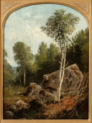 Agnes Brown (1847-1932), Landscape with White Birch. Oil on board, 13 5/8 x 10 ¼ inches. Signed verso. Collection of Hawthorne Fine Art.
