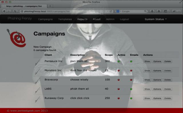 Phishing Frenzy – Ruby on Rails Phishing Framework
