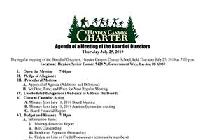 Hayden Canyoon Charter Board Meeting Agenda 12/2/17