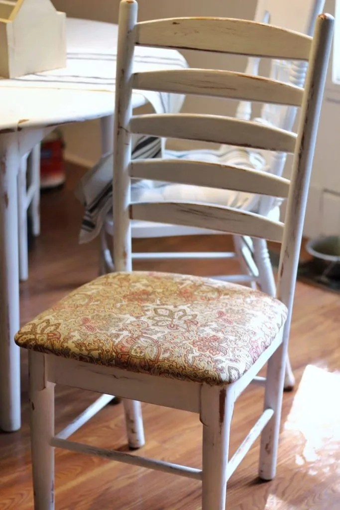 reupholster dining chairs school desk chair how to in 15 minutes two paws farmhouse reupholstering