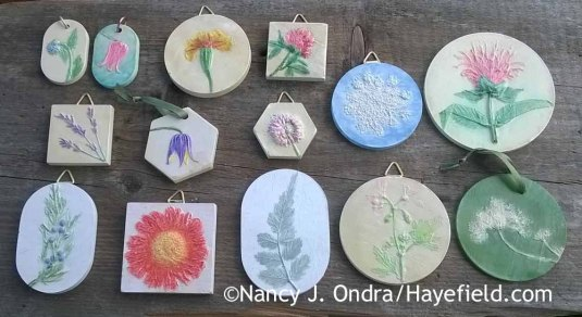 """While I prefer the simplicity of the uncolored castings, I've been trying out some handpainted """"tiny tiles"""" and ornaments, just for something different. [Nancy J. Ondra at Hayefield]"""