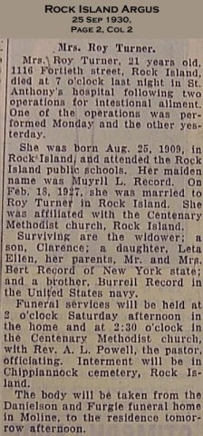 Leta Turner Obituary
