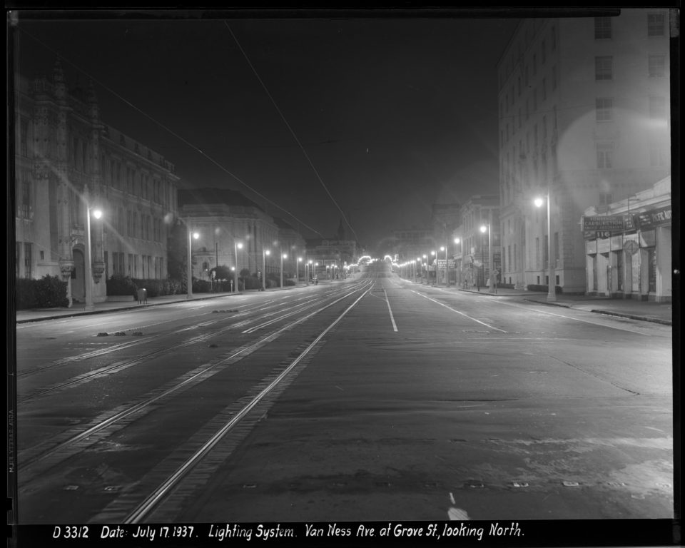 Outdoor Night Shot Looking North on Van Ness Avenue at Fell Street Towards Street Lighting | July 17, 1937 (photo courtesy Beyond Chron)