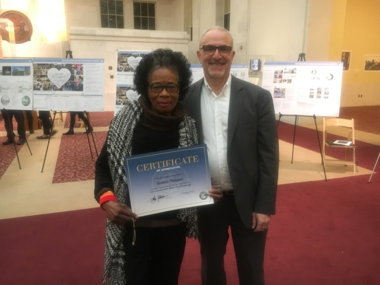 Barbara Thompson and John Rahim, - with Certificate of Appreciation for volunteer work for The Civic Center Public Realm Plan