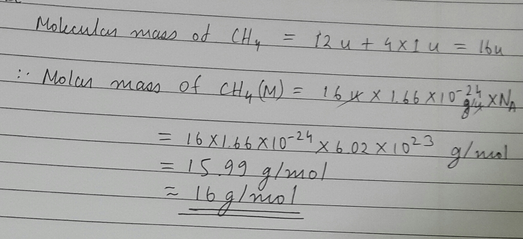 Calculate The Molar Mass Of Ch4 Toppr