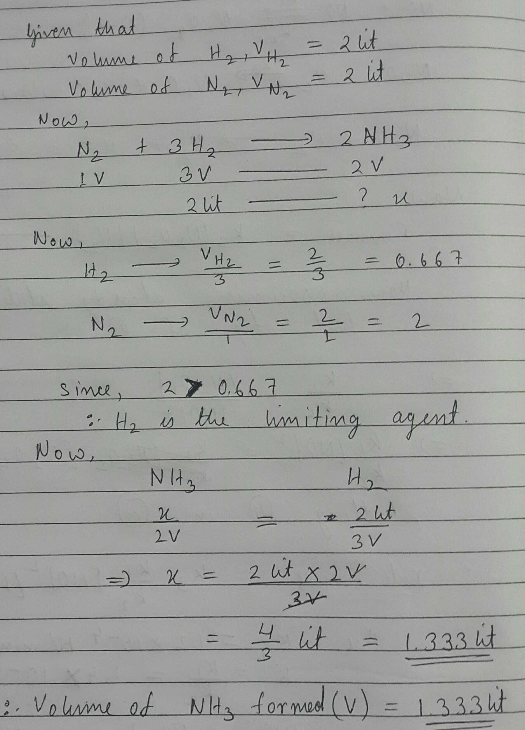 If 2 L of N2 is mixed with 2L of H2 at a toppr.com
