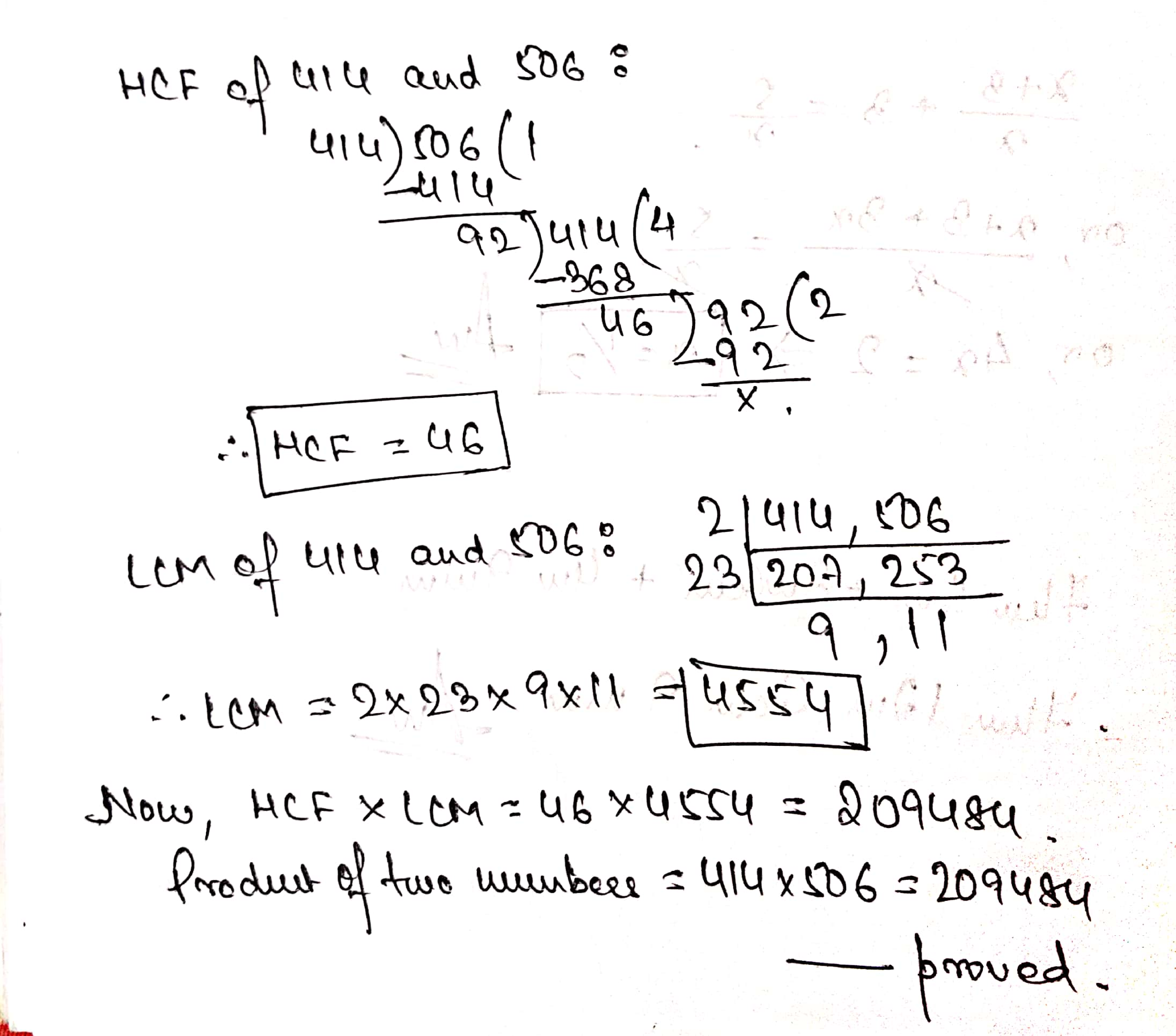 Find The Hcf And Lcm Of The Numbers 414 And 506 A Toppr