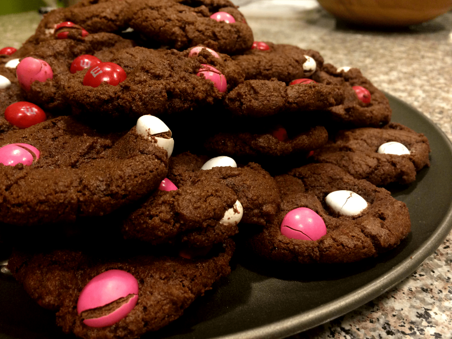 Valentine's Day Double Chocolate Peanut Butter M&M Cookies